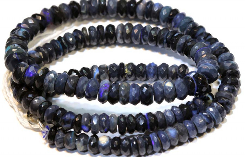 95 CTS  L RIDGE BLACK OPAL FACETED BEADS STRAND TBO-9290