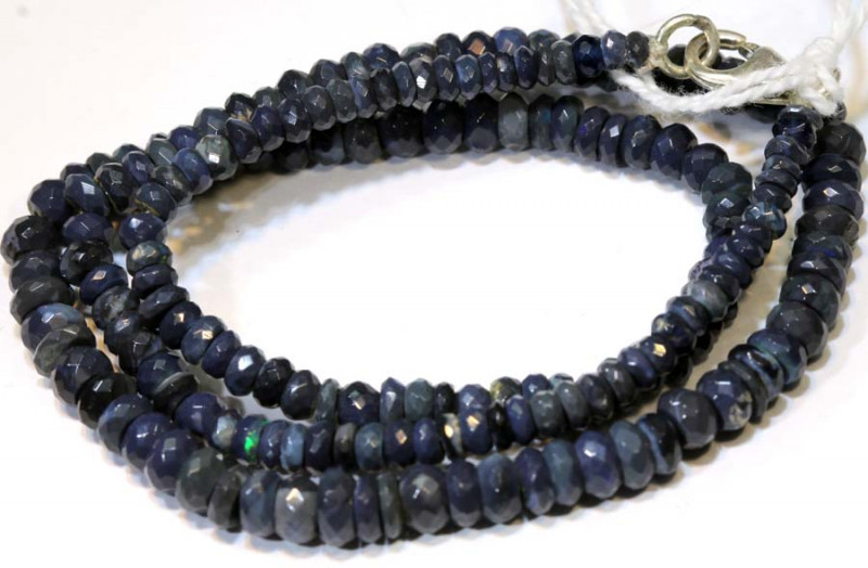 53 CTS  L RIDGE BLACK OPAL FACETED BEADS STRAND TBO-9291