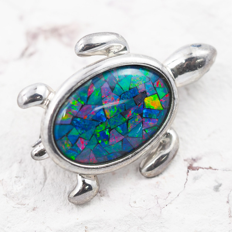 MOSAIC OPAL BROOCH AND PENDANT TURTLE OPJ 2173