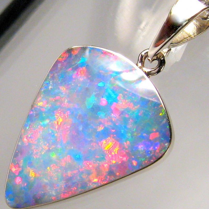 Rare Opal Pendant 14k White Gold Genuine Natural Australian Gem Gift 6.9ct
