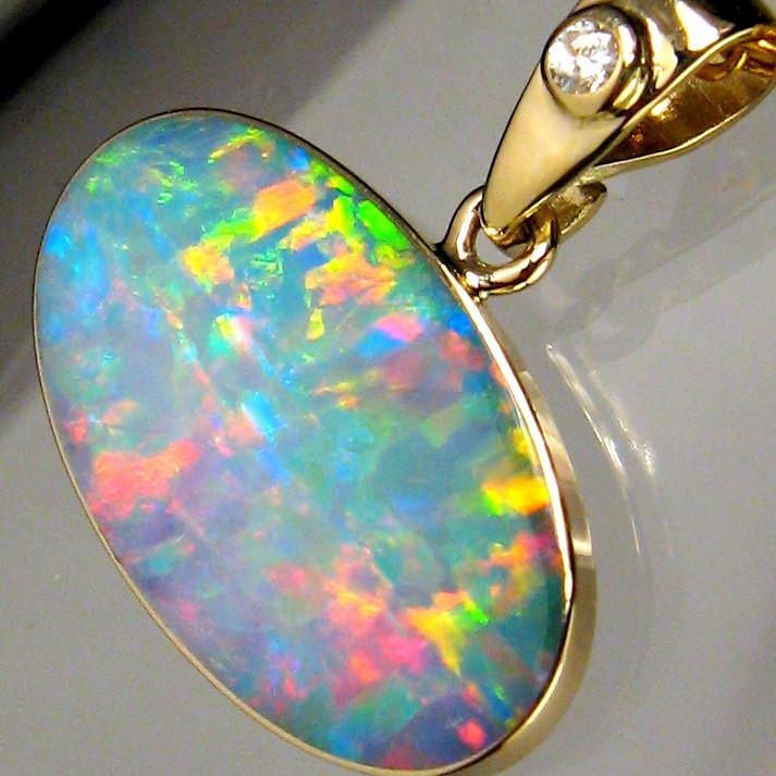 Genuine Australian Opal & Diamond Pendant Inlay Jewelry 14k Gold Gift 6.2ct