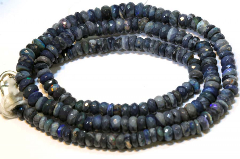 57.70 CTS  L RIDGE BLACK OPAL FACETED BEADS STRAND TBO-9292