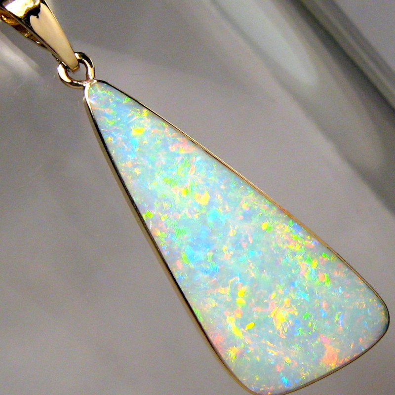 Solid Australian Opal Pendant 14k Gold Crystal 7.2 ct Jewelry Birthday Gift
