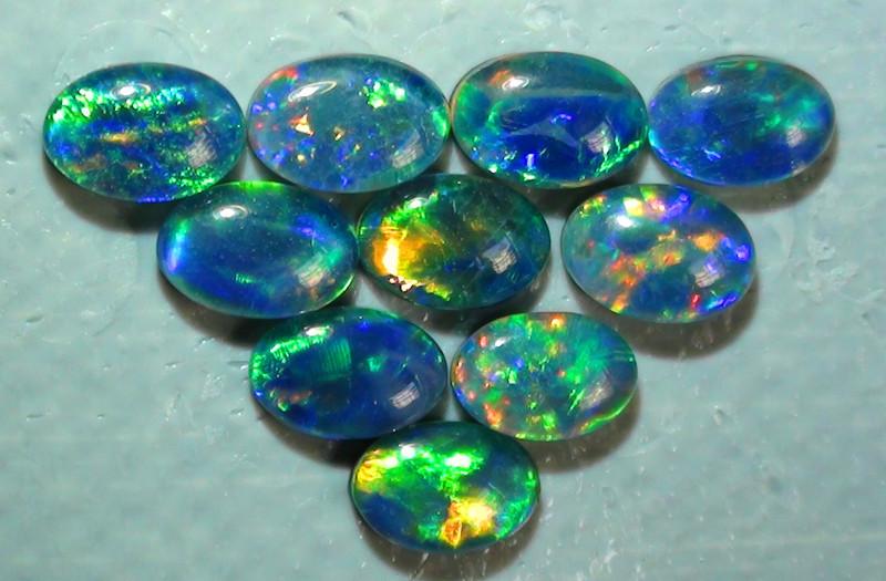 3.60 ct 10 Piece Gem Multi Color Triplet Opal Parcel