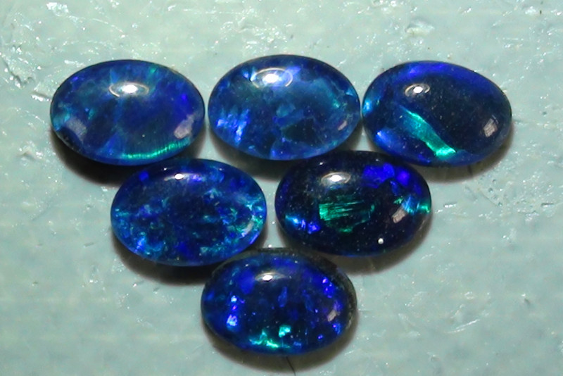 2.10 ct  6 Piece ct Blue Green Color Triplet Opal Parcel