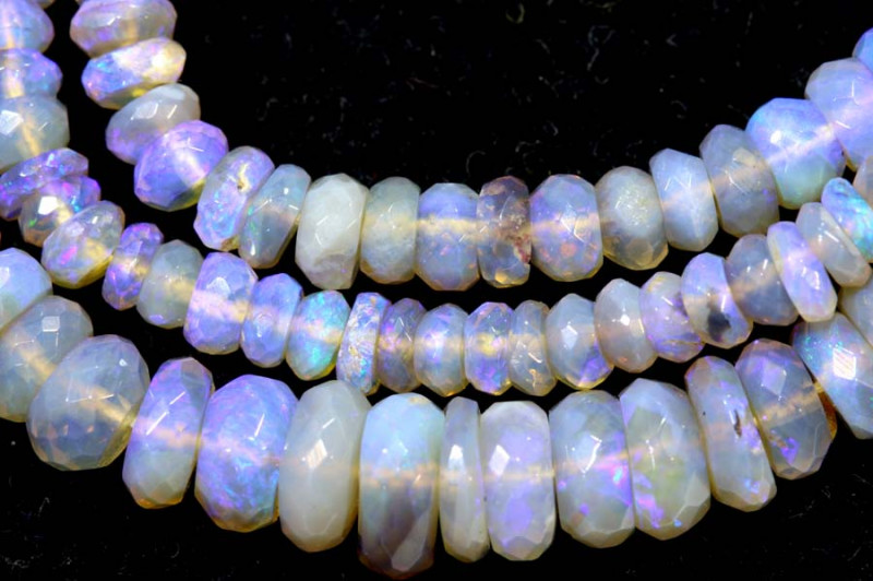 56.50 CTS  L RIDGE CRYSTAL OPAL FACETED BEADS STRAND TBO-9312