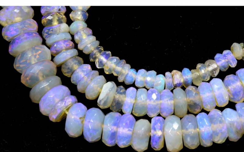 60.10 CTS  L RIDGE CRYSTAL OPAL FACETED BEADS STRAND TBO-9313