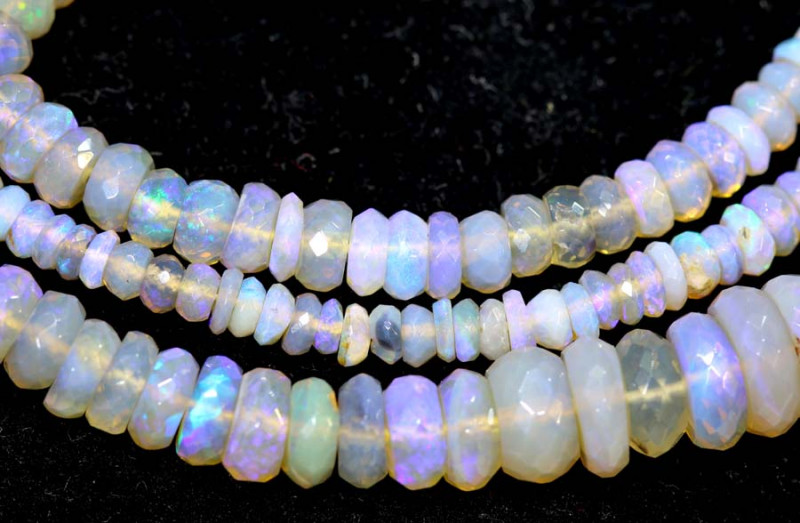 59 CTS  L RIDGE CRYSTAL OPAL FACETED BEADS STRAND TBO-9317