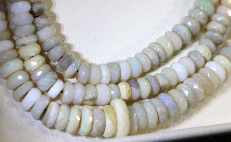 60.10 CTS  L RIDGE DARK BASE OPAL FACETED BEADS STRAND TBO-9328