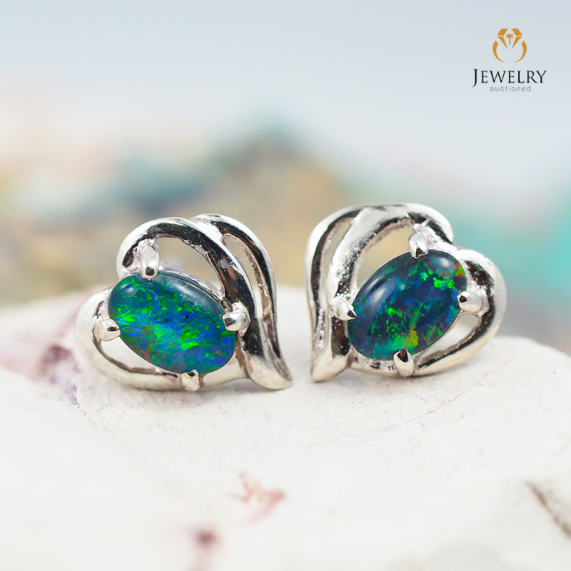 Cute Gem Opal Triplet set in Silver Earring  OPJ2166