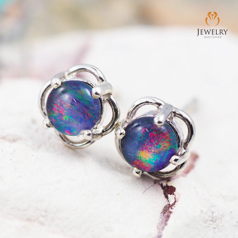 Cute Gem Opal Triplet set in Silver Earring  OPJ2168