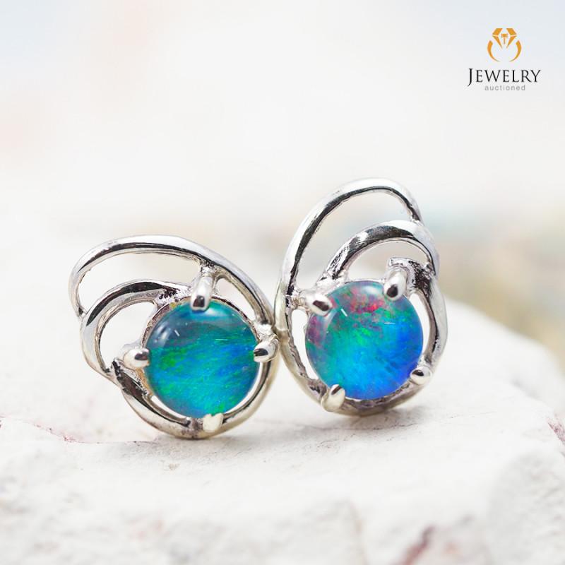 Cute Gem Opal Triplet set in Silver Earring  OPJ2172