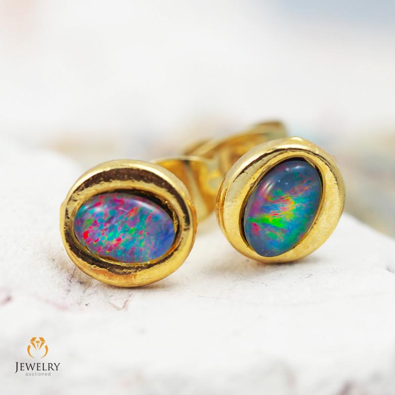 Cute Gem Opal Triplet set in Gold Plate  Earring  OPJ2154