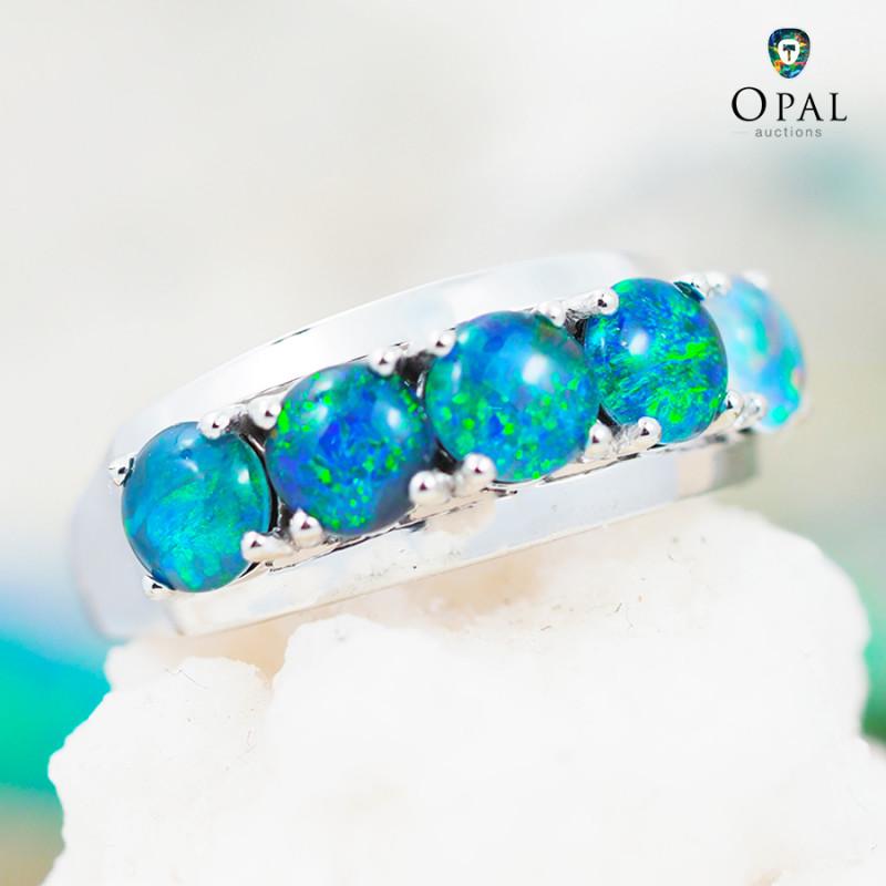 Opal Triplet set in Silver Ring size 6.5 - 6 - OPJ 2176
