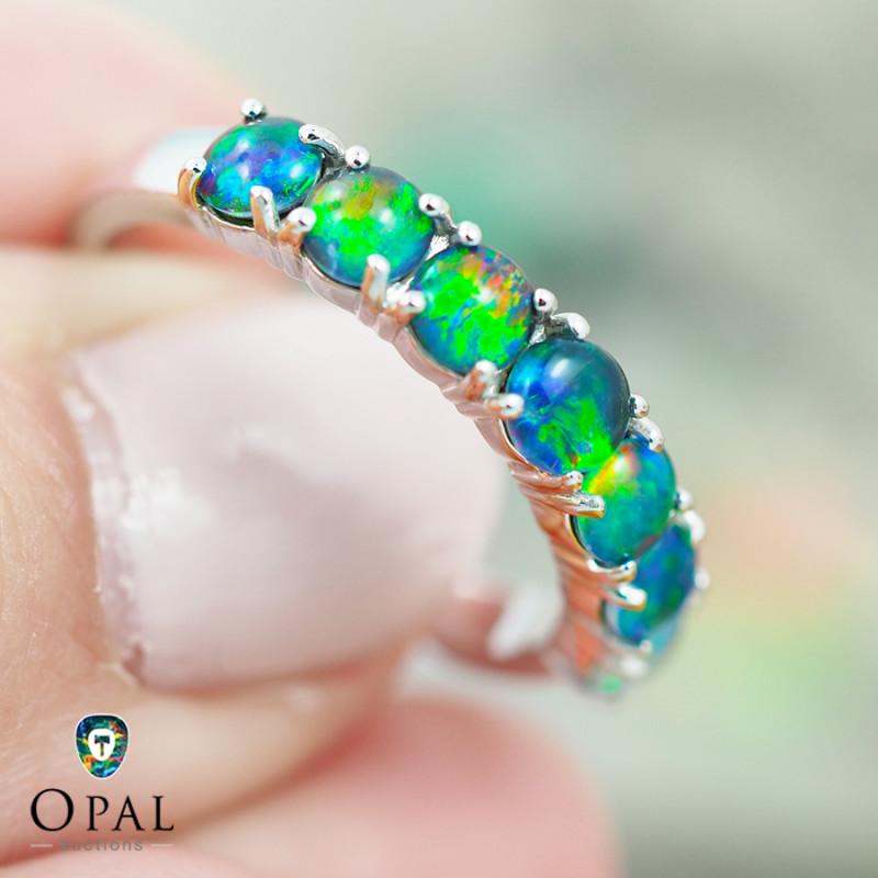 Opal Triplet set in Silver Ring size 7.0 - 10 - OPJ 2191