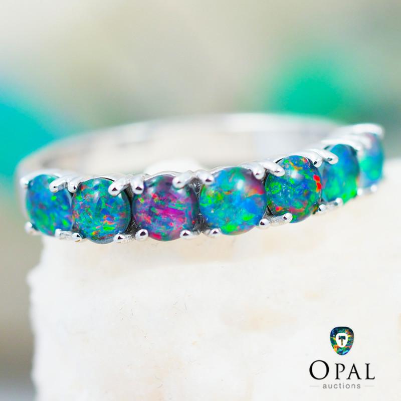 Opal Triplet set in Silver Ring size 7.0 - 10 - OPJ 2192
