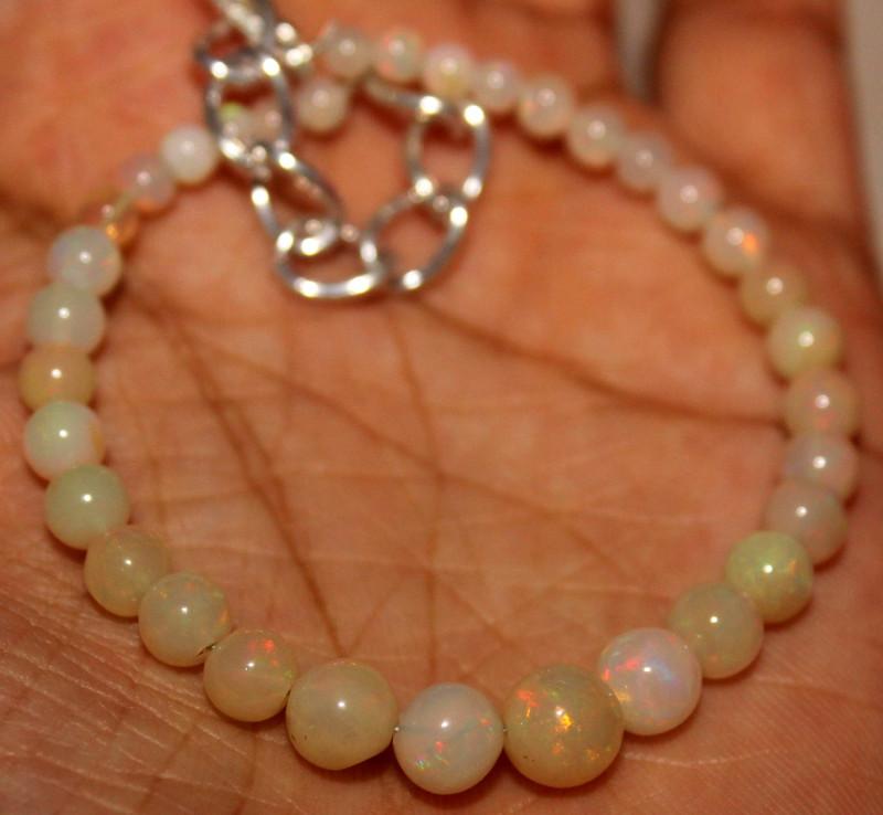 21 Crt Natural Ethiopian Welo Fire Opal Balls Bracelet 13