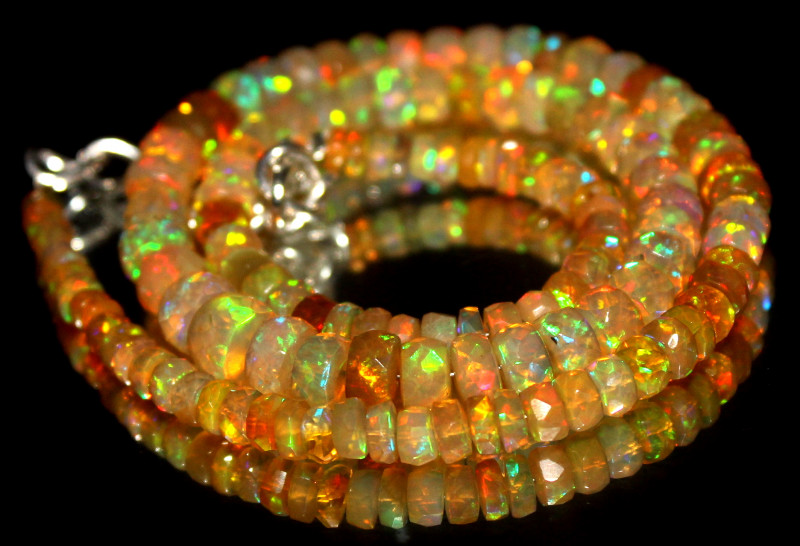 68 Crt Natural Ethiopian Welo Fire Faceted Opal Beads 6