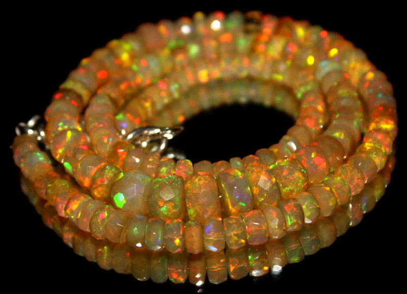 76 Crt Natural Ethiopian Welo Fire Faceted Opal Beads 4