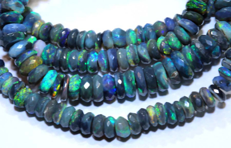 59.2 CTS  L RIDGE BLACK OPAL FACETED BEADS STRAND TBO-9515