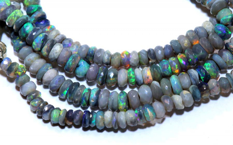 38.60 CTS  L RIDGE DARK BASE OPAL FACETED BEADS STRAND TBO-9516