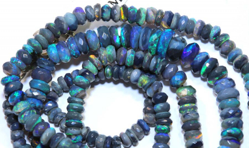 40.5 CTS  L RIDGE BLACK OPAL FACETED BEADS STRAND TBO-9517