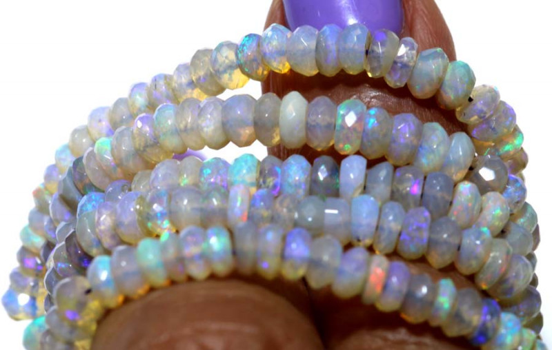 42.40 CTS  L RIDGE CRYSTAL OPAL FACETED BEADS STRAND TBO-9519