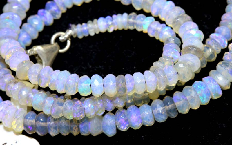 51.70 CTS  L RIDGE CRYSTAL OPAL FACETED BEADS STRAND TBO-9520