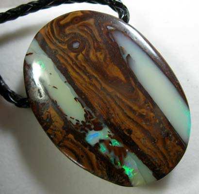 *ONA*BOULDER OPAL MATRIX ON BRAIDED LEATHER 91.83ct [BF/16]