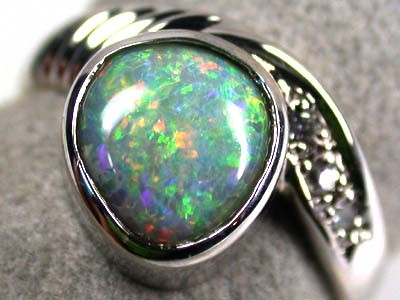 FANTASTIC SUNSET RED CRYSTAL OPAL 18K RING SIZE 6 SCA411