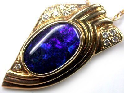 BLACK OPAL ALLURING DEEP BLUE 18K GOLD PENDANT 5 CTS SCA429