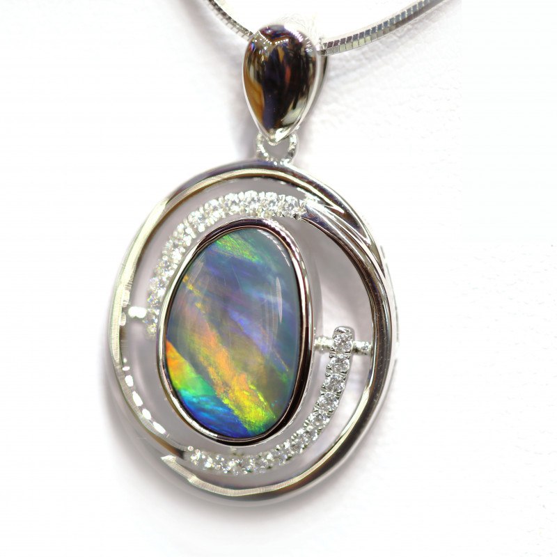 OPal Doublet 925 Silver Rhodium Plated Pandent with CRYSTAL[CP06]