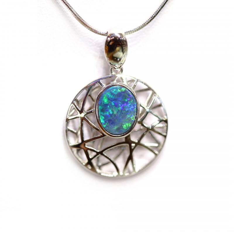 Opal Doublet LIGHTNING RIDGE 925 Silver Rhodium Plated Pendant [CP40]