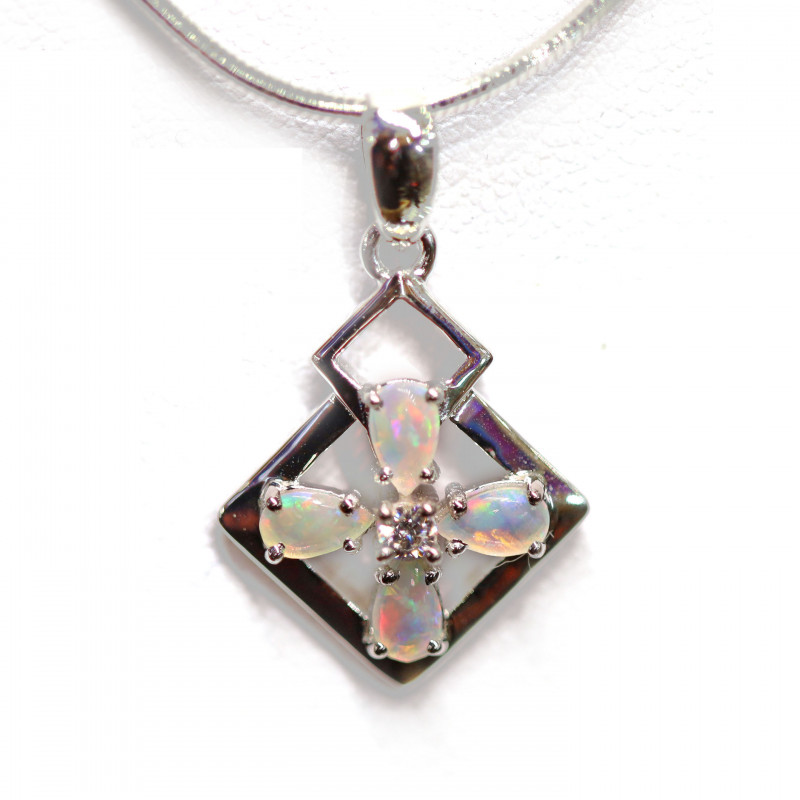 COOBER PEDY OPAL 925 Silver Rhodium Plated Pendant[CP03]