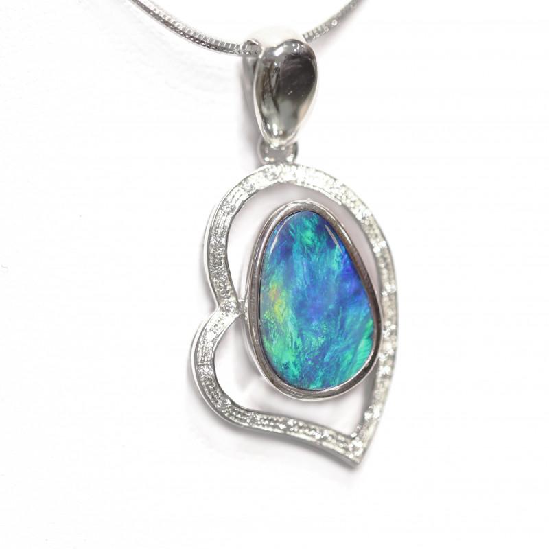 Opal Doublet LIGHTNING RIDGE 925 Silver Rhodium Plated Pandent [CP05]