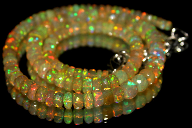 84 Crts Natural Ethiopian Welo Faceted Opal Beads Necklace 17