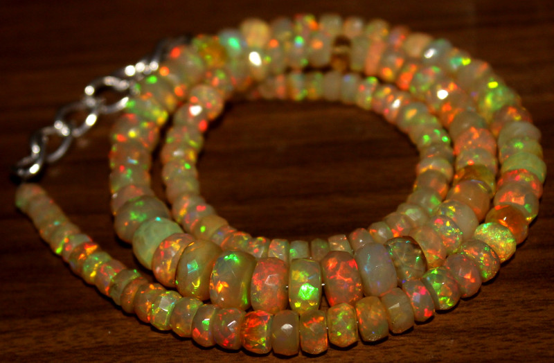 75 Crts Natural Ethiopian Welo Faceted Opal Beads Necklace 8