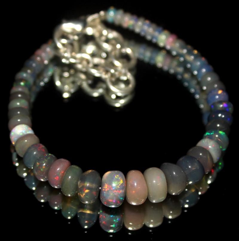 28 Crt Natural Ethiopian Welo Smoked Opal Beads Bracelet 570