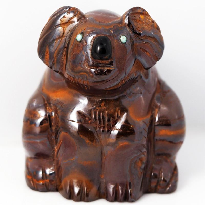 Natural  boulder ironstone Carved into Koala bear BU 2481