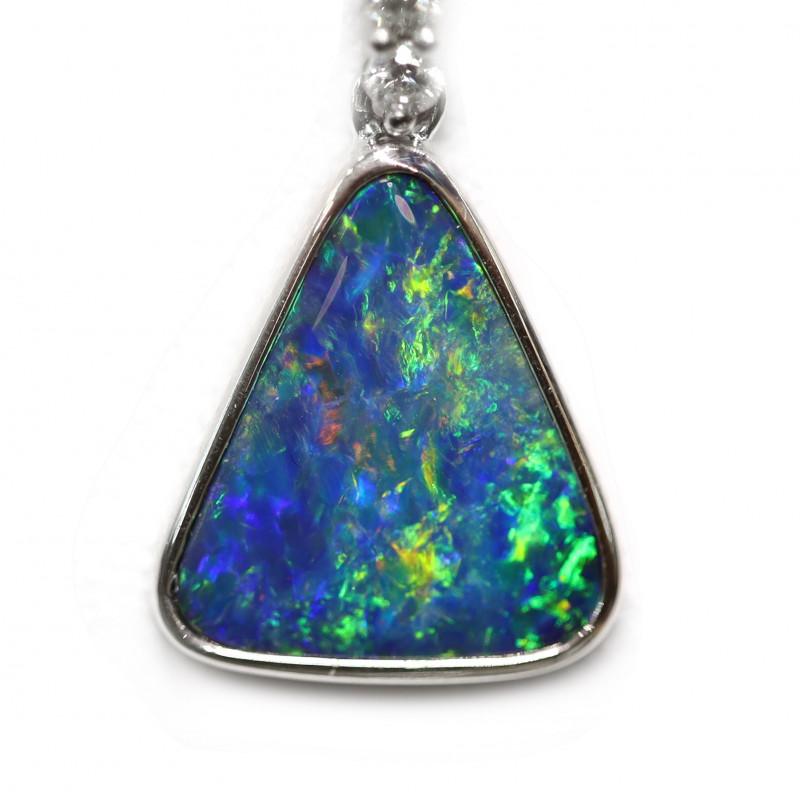 Opal Doublet LIGHTNING RIDGE 14k White Gold Pendant with DIAMOND [CP15]