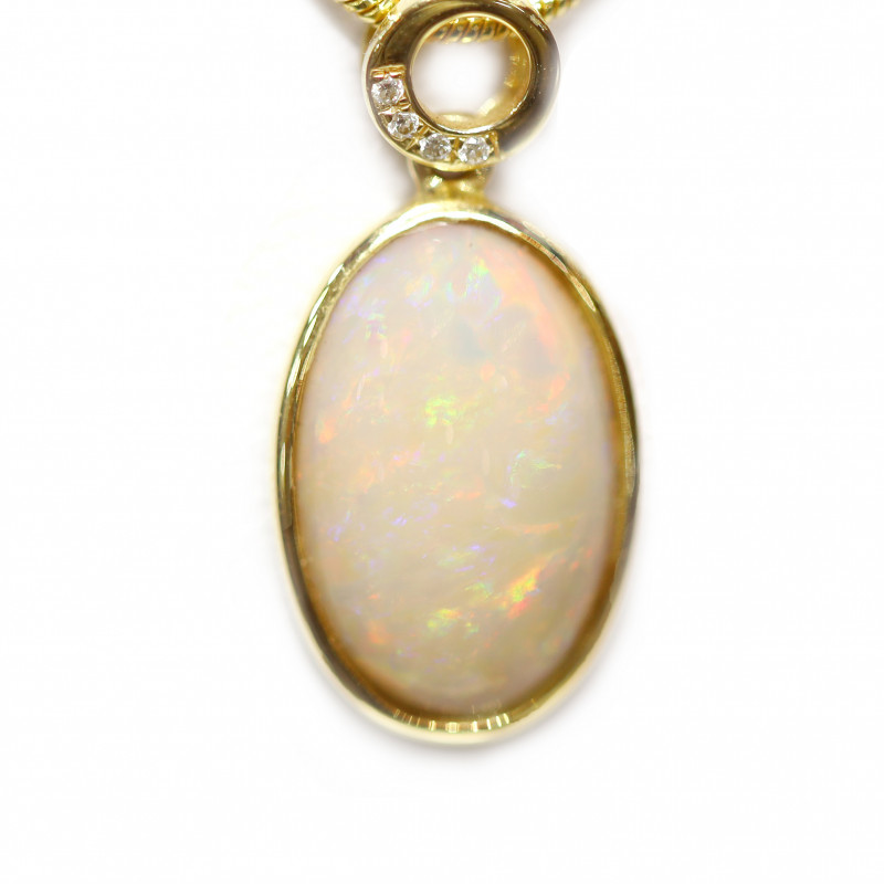 14k Gold White Opal Pendant with DIAMOND [CP26]
