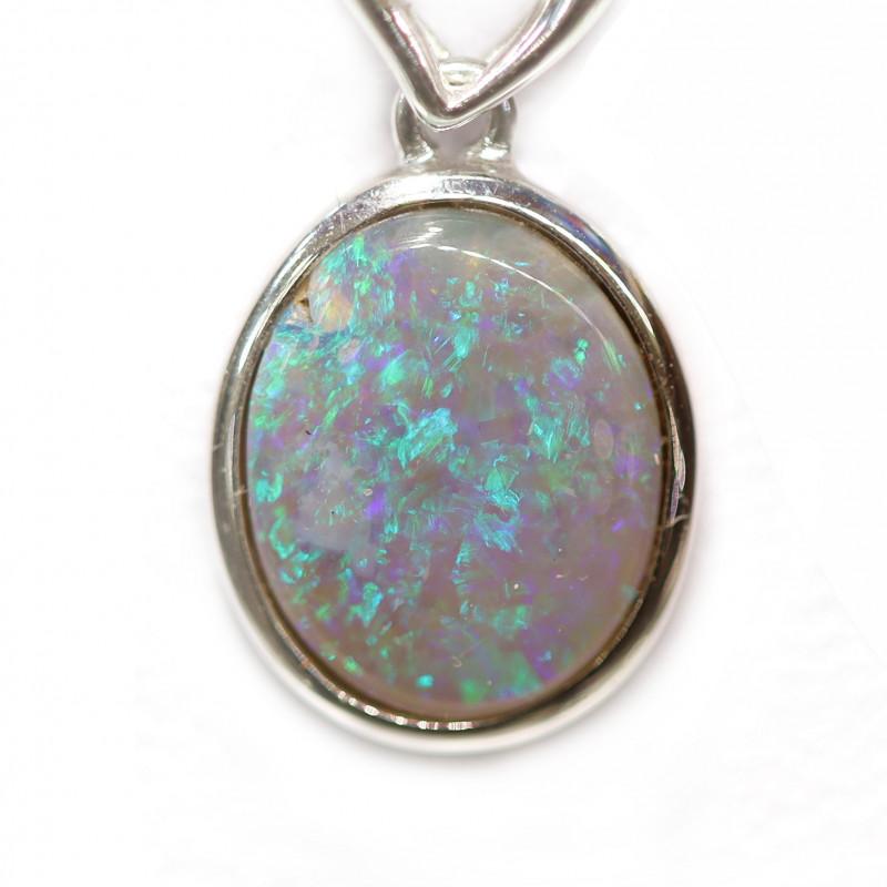18k Gold Semi Black Crystal Opal Pendant [CP30]