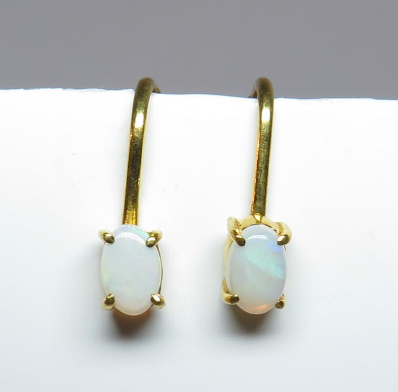 Australian Light Precious Opal GP Screw/Clip Back Earrings