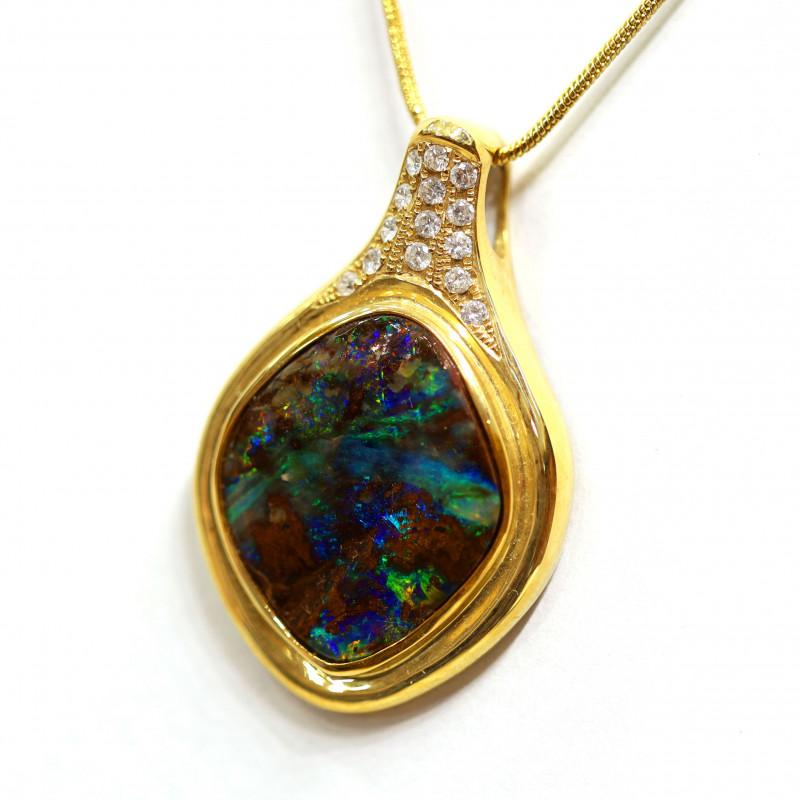 Boulder Opal  18k Gold Pendant with DIAMOND [CP33]