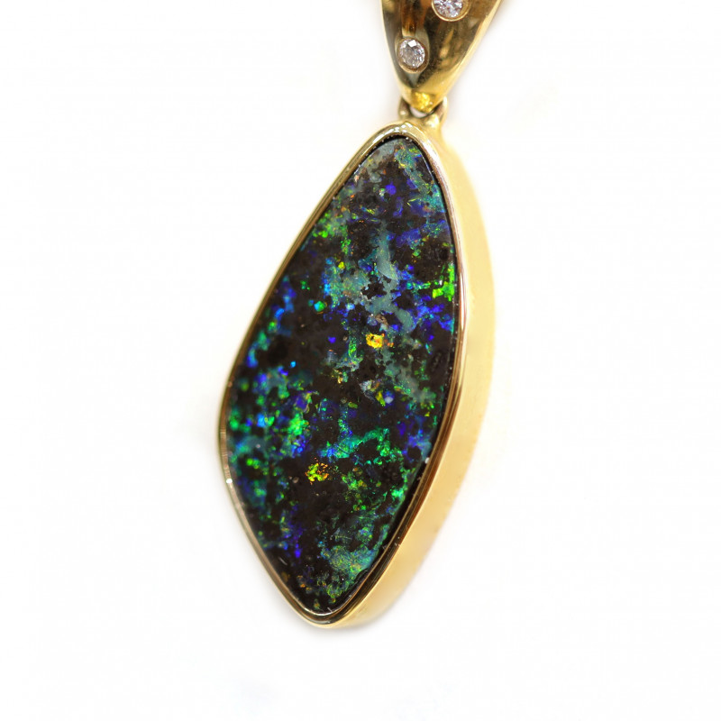 Boulder Opal  18k Gold Pendant with Diamond [CP37]