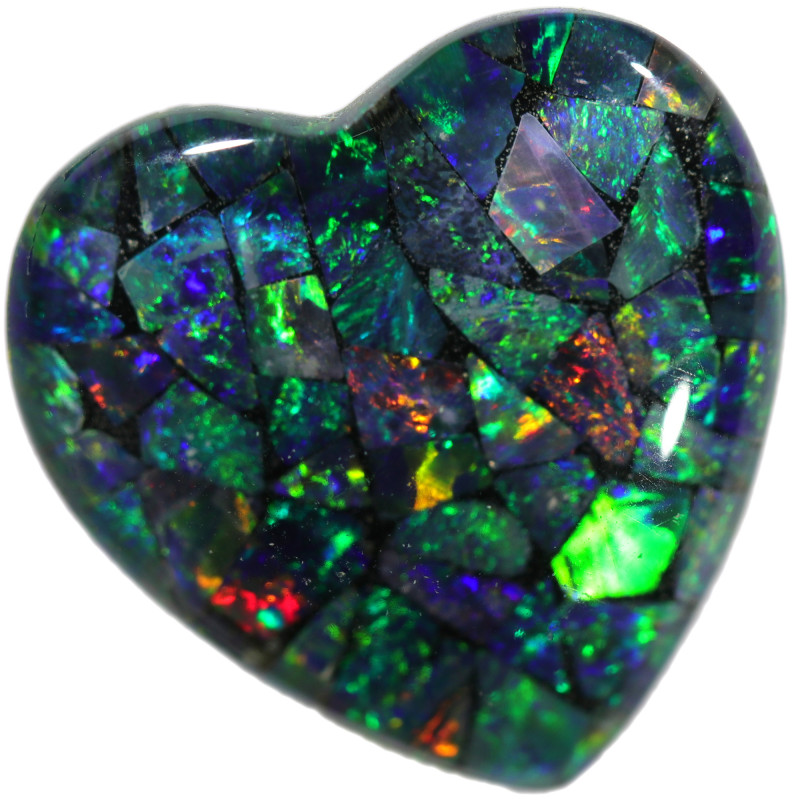 7.65 CTS  9x7x2.5  STUNNING TRIPLET OPAL MOSAIC  HEART [REL2]