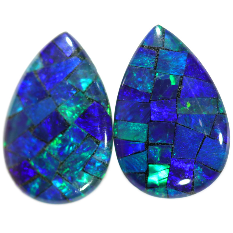 3.55 CTS STUNNING TRIPLET  MOSAIC OPAL PAIR [REL81]