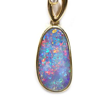 Opal Doublet LIGHTNING RIDGE 14k Gold Pendant with DIAMOND [CP44]