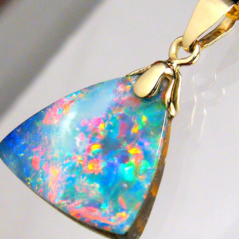 Natural Australian Opal Pendant 5.5ct 14kt Gold Genuine Fine Jewelry Gift B