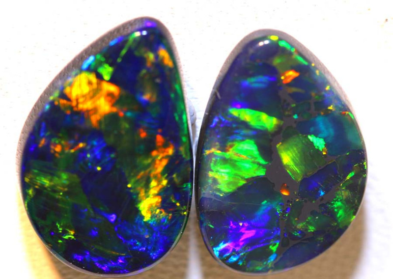 12.37 CTS QUALITY BLACK SOLID OPAL PAIR LIGHTNING RIDGE INV-1373